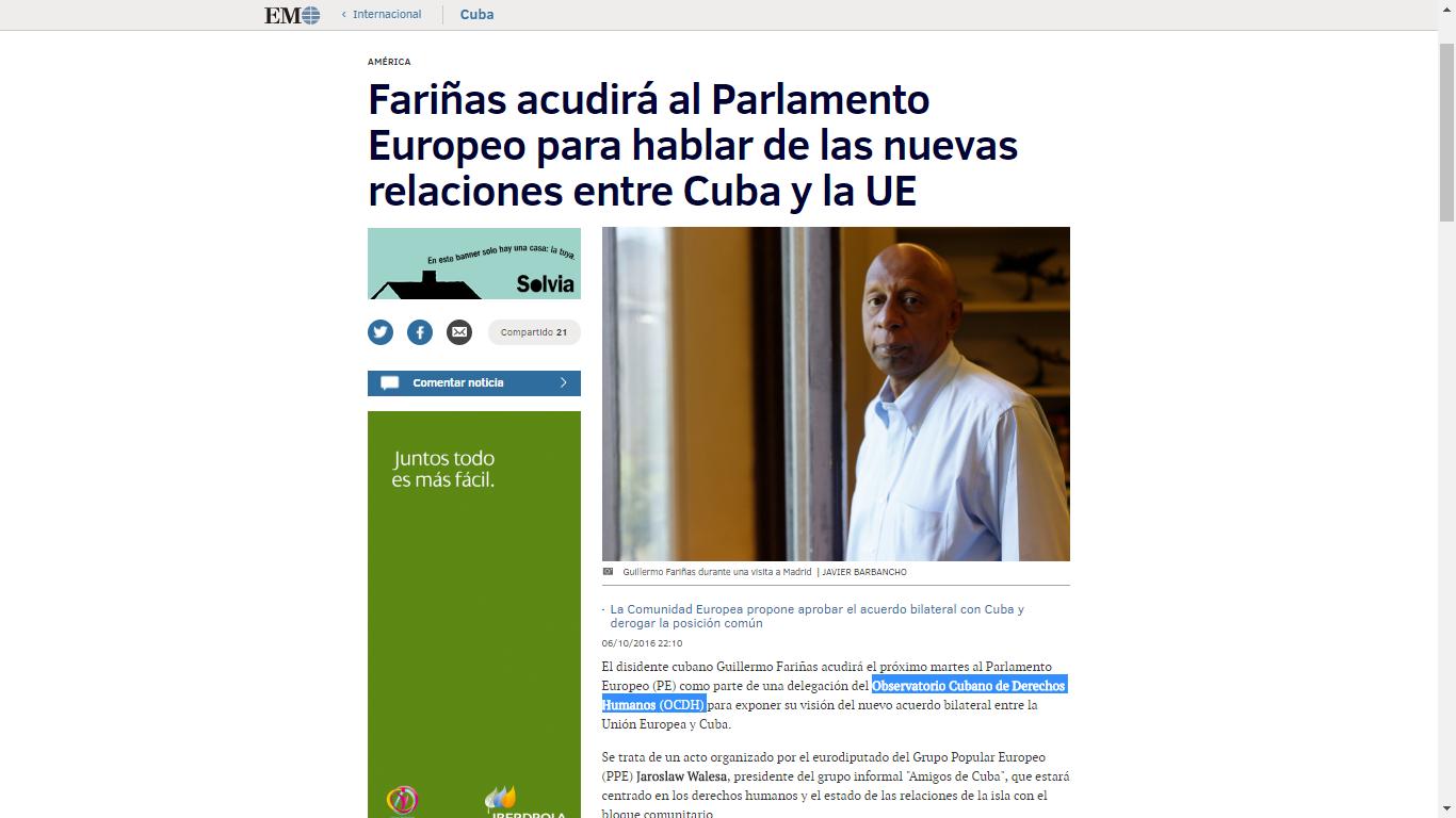 El Observatorio Cubano de Derechos Humanos en el Parlamento Europeo y en el Consejo de Europa