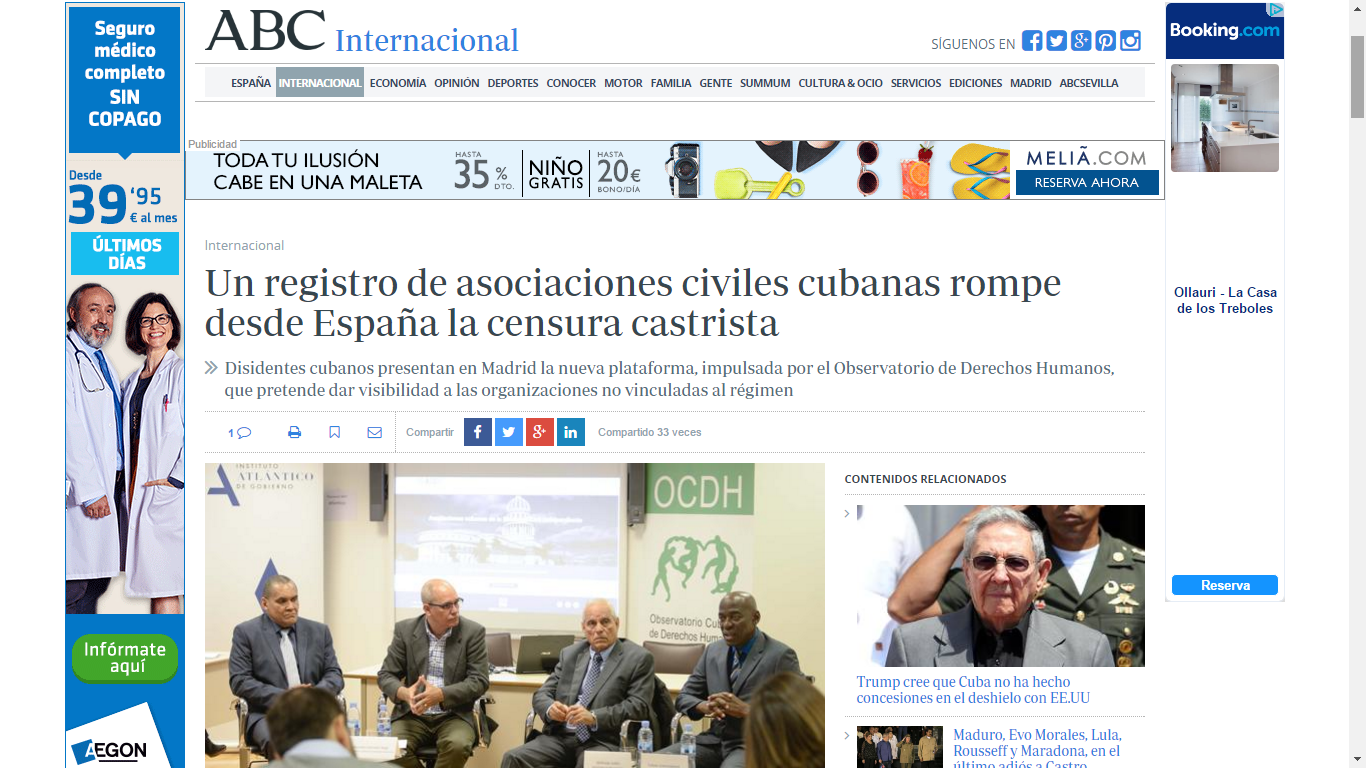 Presentación del 'Registro de Asociaciones Cubanas de la Sociedad Civil' del OCDH